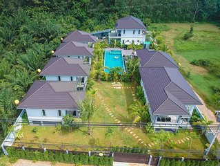 Private 3-room 1-bed villa by 15-m swimming pool and garden in Krabi, Thailand