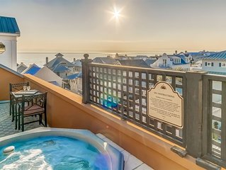 Penthouse Rosemary Beach Condo w/ Rooftop Hot Tub, Gulf Views, Bikes, Downtown!