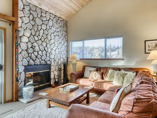 Rustic retreat near skiing & lakes w/ shared hot tub & wood-burning fireplace!