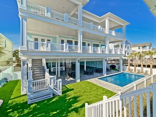 New Luxury Oceanfront ONCE UPON A TIDE, Heated* Pool, Wedding Friendly