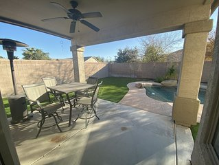Beautiful home in golf course community with private pool and hot tub.