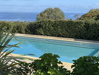 villa  vue mer avec piscine - marine de davia - plage à pieds