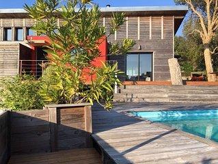 Maison bois architecte Sud landes et son annexe indépendante