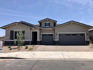 4 bed, 3.5 bath brand new ranch home, private pool and spa, backs to golf course