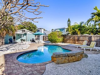 Colorful beach cottage w/ heated private pool, grill area, & more-dog-friendly