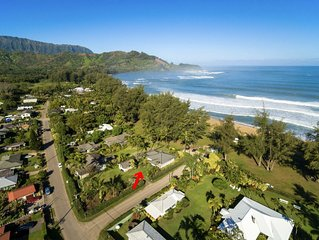 Hanalei Bay BEACHFRONT single-level home