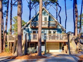 Charming 4 BR, 2 BA Home Nestled on Wooded Double Corner Lot, Minutes from beach