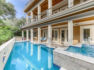 Dog-friendly beautiful ocean view home w/ pool, hot tub & private boardwalk!