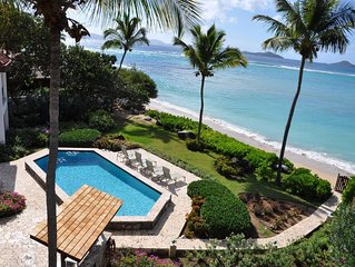 Only 6 bedroom luxury villa on the beach at Mahoe Bay, beautifully renovated.