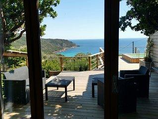 Chalet Cala d'Orzu avec piscine privee vue mer et la tour de Capu-Neru