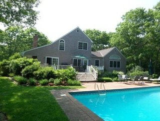 3,500 square feet on two secluded acres in East Hampton with pool