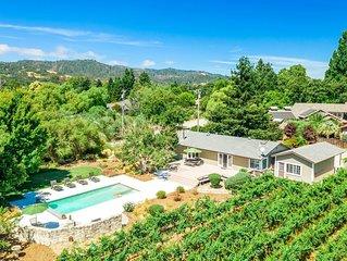5 Bedroom, 3 Bath(Sleeps 10) with pool spa. Mountain and vineyard views.