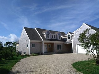 New Shingle Style 4 BR - also updated Guest Cottage - walk to Beach on 2 acres