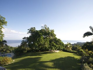 Private estate, ocean views, fully staffed, pool, sleeps 14 in villa, cottage