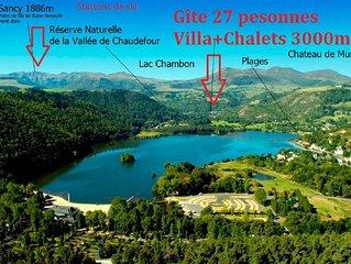 Villa et Chalets  Chambon-sur-lac 27 personnes  Parc Naturel des Volcans  Sancy
