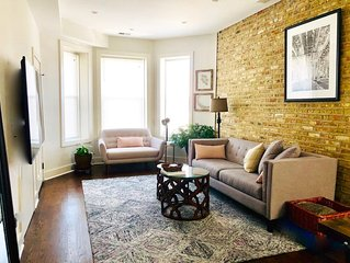Soft Leather and Warm Bricks at a Stylish Rogers Park Home