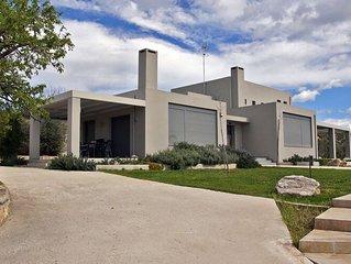 Modern Villa in Nea Agchialos with Garden and Barbecue