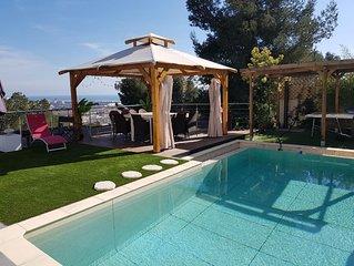 Villa californienne vue mer exceptionnelle 12 Pers.  proche toutes commodites