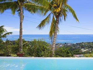 A Rodrigues, belle petite Maison avec vue magnifique sur la mer et piscine