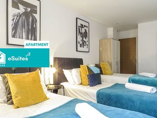 Tudors eSuites modern design twin bedroom apartment near Birmingham Canal and th