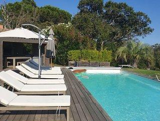 Villa 190 m2, 5 bedrooms, air conditioning, heated pool, garden 2850 m2, 2 minu