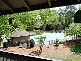 POOL NOW OPEN!! Entire Condo in Pinehurst, King Bed, Private Deck w/ view Pool