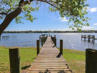 Riverfront Retreat, Private Docks, on Small Acreage.