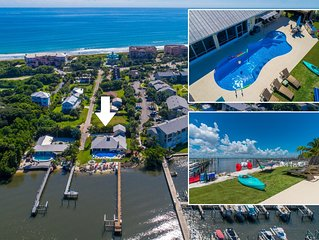 AquaTopia (South):  Riverfront Beach House, Steps 2 Ocean. Heated Pool & Dock!