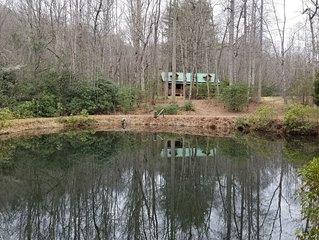 Log Cabin, Trout Pond on 17 Acres, Near Dupont State Forest, very private