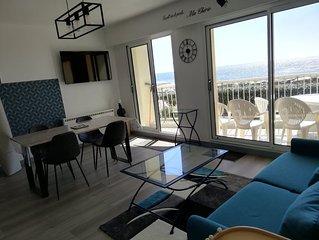Appartement face et vue mer pour 4/6 pers au pied de la plage