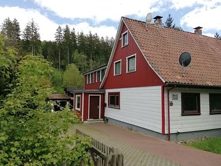 Beautiful semi-detached house in the Harz with wood stove, garden and direct riv