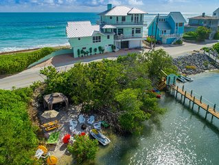 Eden Beach! Ocean-to-River Fla Beach House. ON THE BEACH! Dock, hot tub, & more