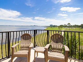 Stunning Bay and Golf Course View! Walk to Pool, Beach Tram, Porch & Balcony.