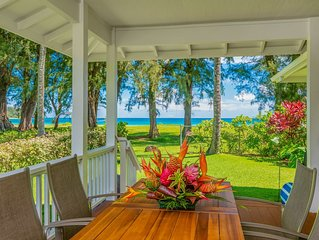 Beach Front Magical Home Plus Cottage at the Center of Hanalei Bay