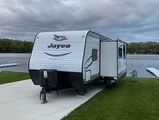 JayFlight Travel Trailer on Private Waterfront Campsite