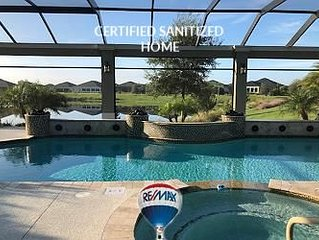 ***Certified Sanitized Home, Private Pool, Golf Cart, No Contact Check in