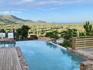 Villa 10 p face mer montagne, piscine privee vue exceptionnelle