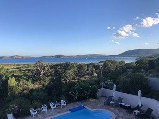 Villa et Piscine vue mer a180° (150 m de la plage) pour 12/14pers