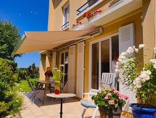 Maison avec grand  jardin clos, vue sur la plage de Villers-sur-Mer à 30 m