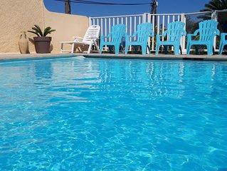 T3 pour 6 pers,  piscine, vue mer