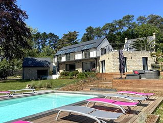 Maison d'architecte 4* de 2018, piscine chauffée, spa, baie de Morgat