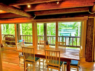 Lake-front solitude in beautiful, comfortable Log Home  10 miles to Glacier park