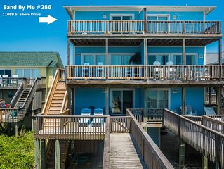 Sand By Me: 5 BR / 4 BA duplex in Surf City, Sleeps 12, Oceanfront!