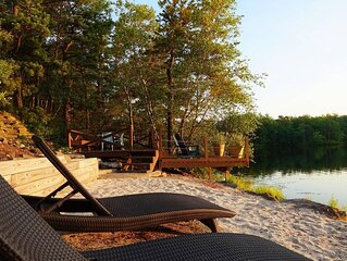 Lake House with Private Beach, Hot Tub & Deck