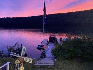 Direct Waterfront on Candlewood Lake with/ boat slip & expansive outdoor kitchen