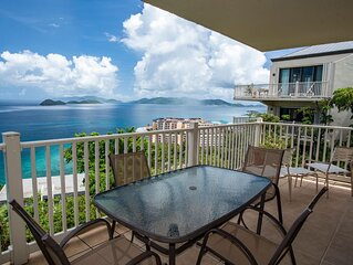Hilltop views, wrap around balcony. Lower $ available for longer stays. D28
