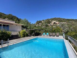 Belle villa, piscine privative chauffée, entre Porto-Vecchio et Bonifacio