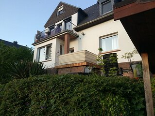 Rheinblick mit Terrasse und Garten