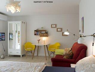 Apartment 1, 30qm, 1 Wohn-/Schlafraum, max. 2 Personen