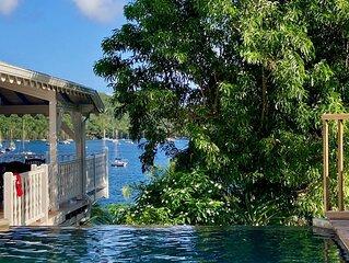 Vue Panoramique baie, Les pieds dans l'eau, Ponton privé, Villa coloniale luxe